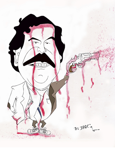 Cartoon: Pablo Escobar (medium) by jaime ortega tagged capo,mafia,pablo,escobar,narcotrafico,drogas,colombia