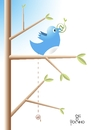 Cartoon: twittando (small) by Tonho tagged twitter arroba bird