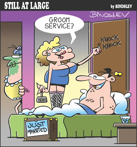 Cartoon: Still at large 105 (medium) by bindslev tagged honeymoon,honeymoons,wedding,night,nights,day,days,groom,grooms,bride,brides,bridegroom,bridegrooms,weddings,room,service,services,just,married,infidelity,unfaithful,adulterer,adulterers,worker,workers,adultery,honeymoon,honeymoons,wedding,night,nights,day,days,groom,grooms,bride,brides,bridegroom,bridegrooms,weddings,room,service,services,just,married,infidelity,unfaithful,adulterer,adulterers,sex,worker,workers,adultery