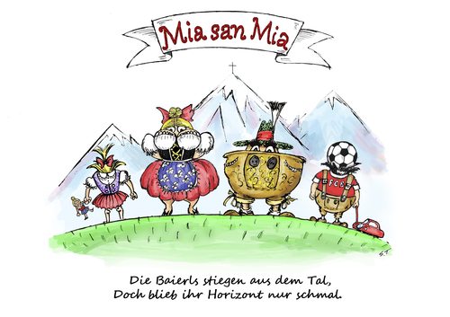 Cartoon: Die bayrische Sicht (medium) by Simpleton tagged lokalpatriotismus,san,mia,bayern