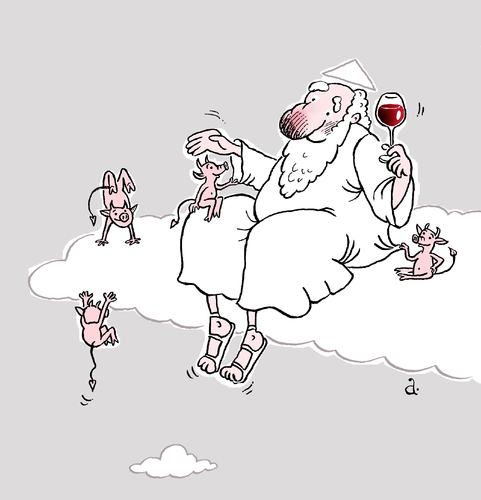 Cartoon: God and devils (medium) by Vasiliy tagged god,devil,sin,drinking,wine,heaven,holiday,joy,carefree,family,friendship,fun,game,pleasure,satan