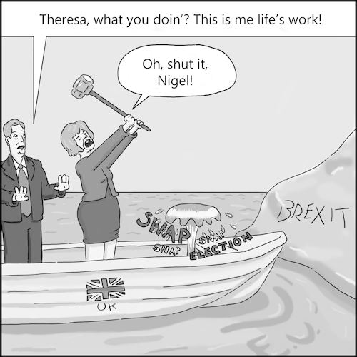 Cartoon: The Boat Metaphor (medium) by creative jones tagged theresa,may,snap,general,election,hung,parliament,theresa,may,snap,general,election,hung,parliament