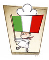 Cartoon: Italian Cooking (small) by Giacomo tagged cooking,italy,flag,red,green,white,chef,hat,giacomo,cardelli