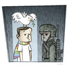 Cartoon: Peace (small) by Giacomo tagged peace,dove,war,soldier,rain,shelter,giacomo,cardelli
