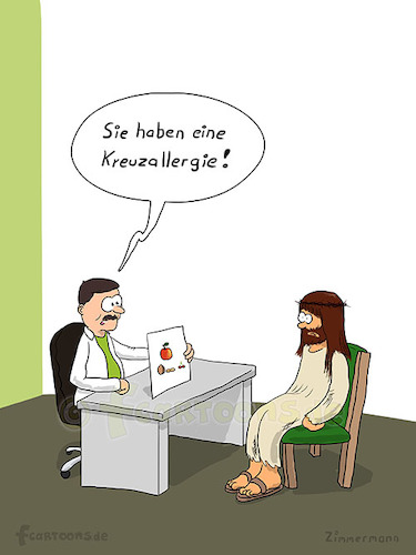 Cartoon: Kreuzallergie (medium) by fcartoons tagged allergy,apple,cartoon,chair,cherry,doc,doctor,easter,fun,funny,jesus,nut,nuts,office,allergie,apfel,arzt,doktor,dornenkrone,erdnuss,kirsche,lustig,nüsse,ostern,stuhl,walnuss