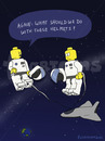 Cartoon: HELMETS (small) by fcartoons tagged ask,cartoon,lego,minifig,question,shuttle,space,yellow,helmet,helm,all,weltall,earth,tube