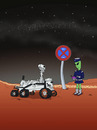 Cartoon: Marsrover Curiosity (small) by fcartoons tagged mars rover curiosity fcartoons cartoon knöllchen halteverbot zettelpupe alien politesse parkstreifen ticket nasa grün uniform