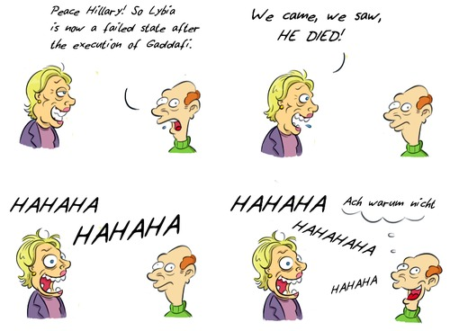 Cartoon: Kommentar Hillary (medium) by Rob tagged hillary,clinton,gaddafi,us,usa,election,wahl,präsident,president,kommentar,lybia,lybien