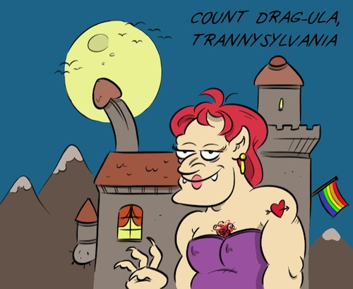 Cartoon: Spooky (medium) by Rob tagged count,dracula,graf,drakula,drag,trans,transvestit,tranny,schloss,castle,transylvanien