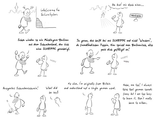 Cartoon: Thierse (medium) by Rob tagged wolfgang,thierse,präsident,bundestag,schwaben,berliner,berlinerisch,schrippe,wecken,brötchen,dialekt,einwohner,president,language,berlin,slang,dialect,white,roll,city,english,foreigner,citizen