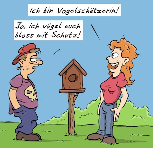 Cartoon: Vogelschutz (medium) by Rob tagged vogelschutz,vogel,vögel,vögeln,bird,birds,vogelhaus