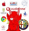 Cartoon: Schleichwerbung (small) by Rob tagged 666,satan,teufel,devil,luzifer,lucifer,vodafone,apple,logo,cern,google,intel,lotto,lottery,alfa,romeo,monster