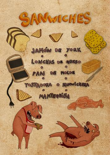 Cartoon: sanwiches (medium) by al duran tagged pigs,cerdos,sanwiches,jamon,york,receta