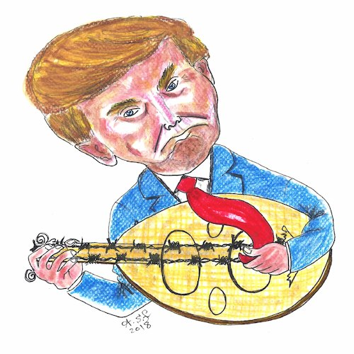 Cartoon: trump music (medium) by AHMEDSAMIRFARID tagged trump,ahmed,samir,farid,ahmedsamirfarid,usa,israel,palestine,cartoon,caricature,egyptair