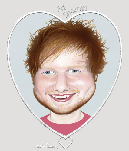 Cartoon: Ed Sheeran. (medium) by Maria Hamrin tagged caricature,music,folk,acoustic,idol,pop,musician,celebrity,british
