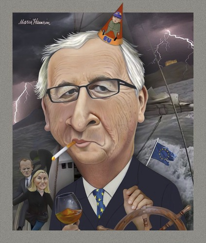 Cartoon: Jean-Claude Juncker. (medium) by Maria Hamrin tagged caricature,jose,manuel,barroso,federica,mogherini,donald,tusk,cognac,cigarette,greece
