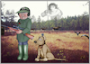 Cartoon: Huntingseason. (small) by Maria Hamrin tagged shootingseason,hunter,rifle,riflescope,gpsclock,radio,walkietalkie,headphones,camera,dog,huntingdog,medal,bear,moos,huntingoodess,gees,cranes,shootingground,autumn