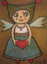 Cartoon: I give you my heart (small) by iris lydia tagged love,heart,herz,angel,engel,liebe,gift,geschenk