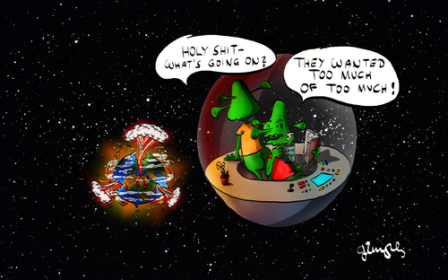 Cartoon: Too much... (medium) by gimpl tagged alien,earth,explosion,science,fiction