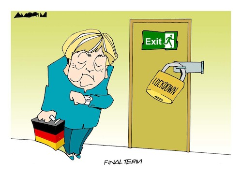 Cartoon: Angela Merkel (medium) by Amorim tagged angela,merkel,elections,lockdown