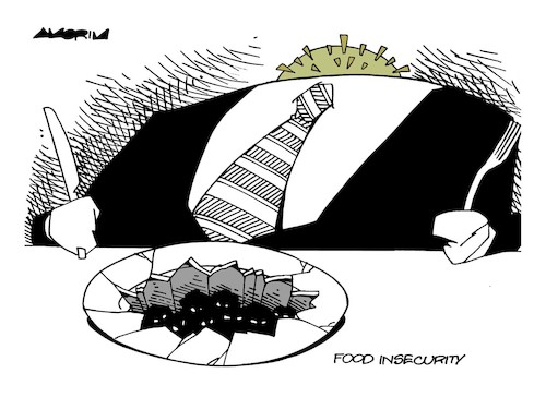Cartoon: Food Insecurity (medium) by Amorim tagged nobel,peace,prize,2020,covid19