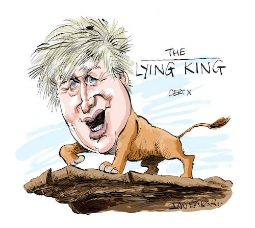 Cartoon: Boris Johnson (medium) by Ian Baker tagged boris,johnson,ian,baker,caricature,cartoon,politics,prime,minister,conservative,party,uk,world,trump,lion,king,disney,animation,film,kids,cinema,hair,cliff,illustration