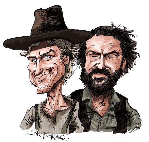 Cartoon: Terence Hill and Bud Spencer (medium) by Ian Baker tagged terence,hill,bud,spencer,cowboy,western,film,movie,stars,actors,ian,baker,caricature,cartoon,celebrity,famous,spaghetti,old