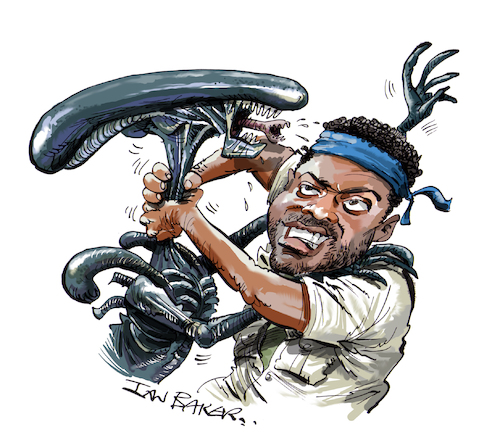 Cartoon: Yaphet Kotto (medium) by Ian Baker tagged yaphet,kotto,cartoon,caricature,ian,baker,film,movie,alien,parker,seventies,sci,fi,horror,fight,actor,hollywood,nostromo,aliens,sigourney,weaver,famous,celebrity,john,hurt