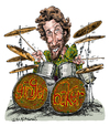 Cartoon: Ginger Baker (small) by Ian Baker tagged ginger baker peter edward cream drums drummer caricature sixties psychadelic rock music eric clapton jack bruce musician
