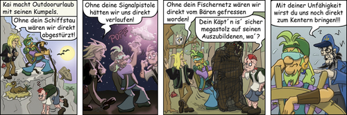 Cartoon: Survivalguide (medium) by florianolgi tagged krabbenjunx,florian,metzner,olgi,kai,ole,matjes,hering,krabben,fischen,fischer,grizzly,bär,bear,climbing,berg,signal,pistole,gun,net