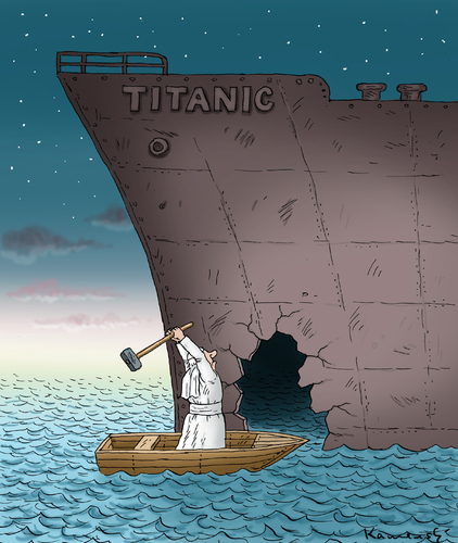 Cartoon: Auge um Auge Leck um Leck (medium) by marian kamensky tagged titanic,satire,papst,auge,um,leck,papst,titanic