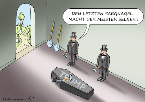 Cartoon: DER LETZTE NAGEL (medium) by marian kamensky tagged us,wahlen,joe,biden,trump,corona,kapitol,putsch,bob,woodward,harris,pence,us,wahlen,joe,biden,trump,corona,kapitol,putsch,bob,woodward,harris,pence