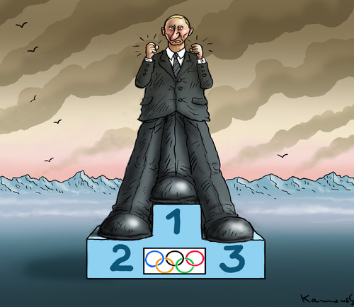 Cartoon: Einziger Sotschi Sieger (medium) by marian kamensky tagged putin,sochi,winter,olympia,homophobie,terrorismus,zahnpastabombe,putin,sochi,winter,olympia,homophobie,terrorismus,zahnpastabombe