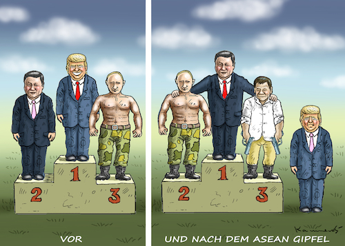 Cartoon: ENDE DER WELTMACHT USA (medium) by marian kamensky tagged asean,summit,in,jakarta,duterte,trump,asean,summit,in,jakarta,duterte,trump