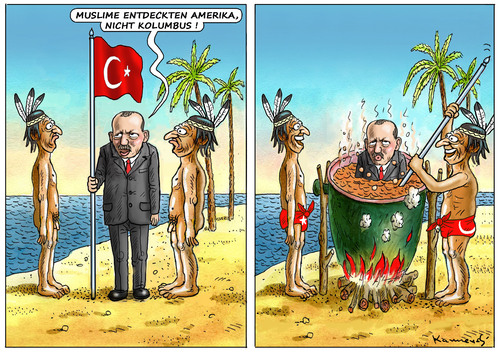 Cartoon: ERDOGAN ENTDECKT AMERIKA ! (medium) by marian kamensky tagged erdogan,entdeckt,amerika,türkei,islam,terrorismus,erdogan,entdeckt,amerika,türkei,islam,terrorismus