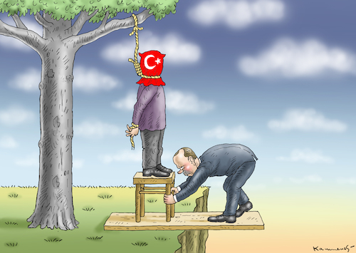 Cartoon: ERDOWAHNS TODESSTRAFE (medium) by marian kamensky tagged jahrestag,de,putsches,erdogan,türkei,jahrestag,de,putsches,erdogan,türkei