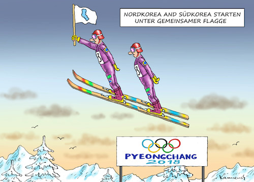 Cartoon: FEINDE UNTER SICH (medium) by marian kamensky tagged putin,in,pyonyang,2018,olympische,winterspiele,putin,in,pyonyang,2018,olympische,winterspiele