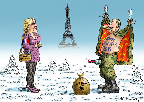 Cartoon: HAPPY NEW YEAR 2015 (medium) by marian kamensky tagged happy,new,year,2015,marine,le,pen,putin,front,national,faschismus,nationalismus,happy,new,year,2015,marine,le,pen,putin,front,national,faschismus,nationalismus