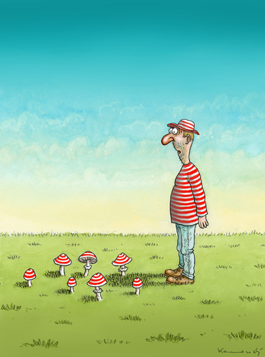 Cartoon: Mushrooms (medium) by marian kamensky tagged humor,pilz,pilze,natur,wald,fliegenpilz,fashion,mode