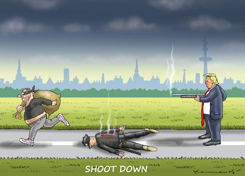 Cartoon: SHOOT DOWN (medium) by marian kamensky tagged obama,trump,präsidentenwahlen,usa,baba,vanga,republikaner,inauguration,demokraten,wikileaks,faschismus,jamal,khashoggi,shutdown,obama,trump,präsidentenwahlen,usa,baba,vanga,republikaner,inauguration,demokraten,wikileaks,faschismus,jamal,khashoggi,shutdown