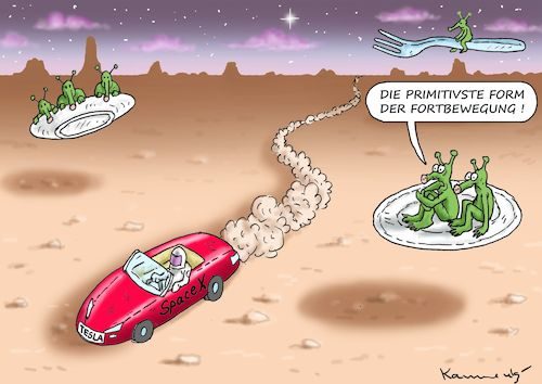 Cartoon: TESLA AUF DEM MARS (medium) by marian kamensky tagged tesla,auf,dem,mars,elon,musk,space,tesla,auf,dem,mars,elon,musk,space