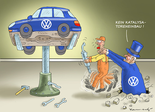 Cartoon: VW-KATALYSATORENDRAMA (medium) by marian kamensky tagged dieselaffenaffäre,mathias,müller,vw,winterkorn,scheuer,katalysatorendrama,dieselaffenaffäre,mathias,müller,vw,winterkorn,scheuer,katalysatorendrama