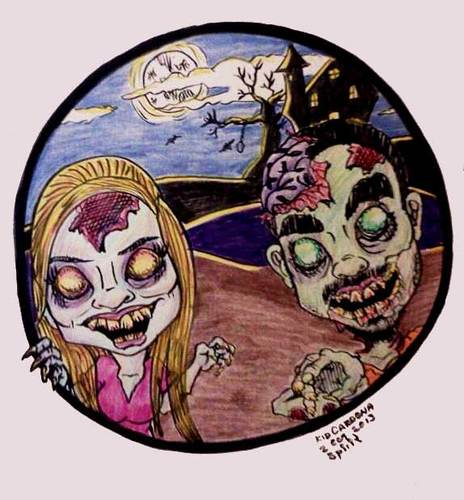 Cartoon: Zombie-tures (medium) by kidcardona tagged caricature,cartoon,halloween,monster,fun,holiday,dead