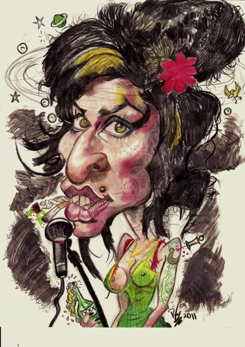 Cartoon: Amy Winehouse (medium) by RoyCaricaturas tagged winehouse,amy,singers,famous,soul,music,legends