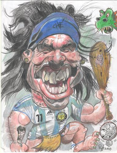 Cartoon: Carlos Tevez caveman (medium) by RoyCaricaturas tagged tevez,soccer,argentina