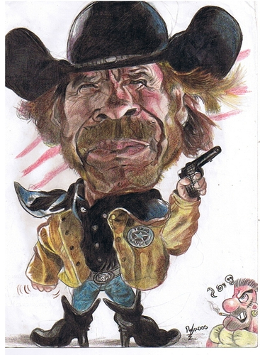 Cartoon: Chuck Norris Texas Ranger (medium) by RoyCaricaturas tagged chuck,norris,actors,cartoon,texas