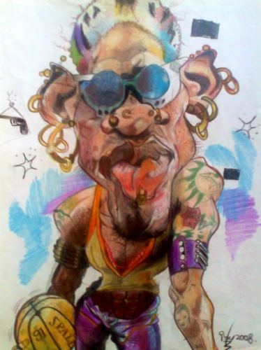 Cartoon: Dennis Rodman earrings. (medium) by RoyCaricaturas tagged dennis,rodman,famous,basketball,nba