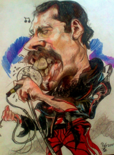 Cartoon: Freddy Mercury (medium) by RoyCaricaturas tagged freddy,mercury,queen,rock,roll,star,famous,music