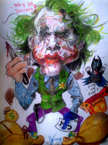 Cartoon: Heath Ledger as The Joker. (medium) by RoyCaricaturas tagged joker,batman,ledger,hollywood,actors,famous
