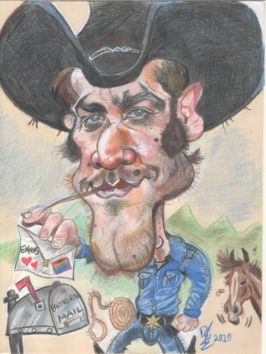 Cartoon: Jake Gyllenhaal as Jack Twist (medium) by RoyCaricaturas tagged jake,gyllenhaal,actors,hollywood,famous,cartoon